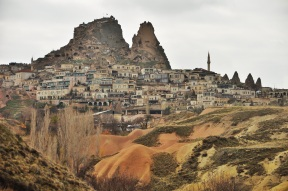 One of the towns in Cappaocia. Now they are filled with resorts and resaurants, some of which are in caves.