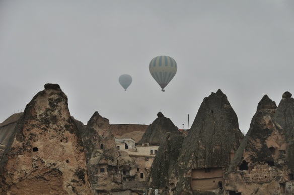 The balloon rides are very famous in Cappaocia, and though there are only a few dozen of them in the air during the winter, apparently in the summer you can see hundreds.