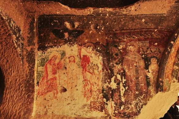 Some of the frescos were in better shape than others, depending on how much sunlight was let into a room. This one has also been repeatedly destroyed throughout the centuries.