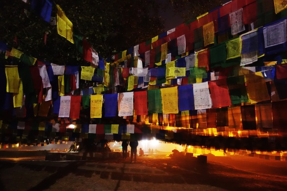 Prayer flags at night.