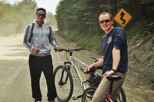 Kevin and our Dolobian host on our bike ride.