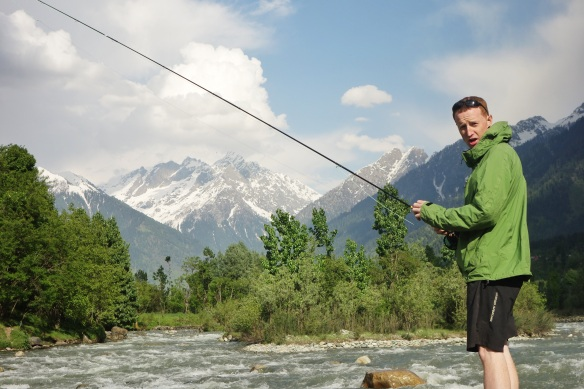 Kevin fishing in Kashmir valley.