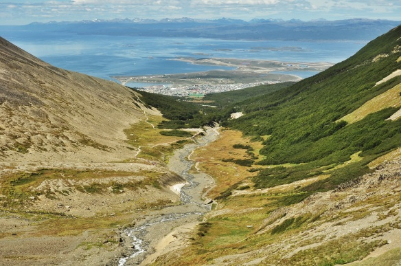 You can see Ushuaia right next to the water down below.