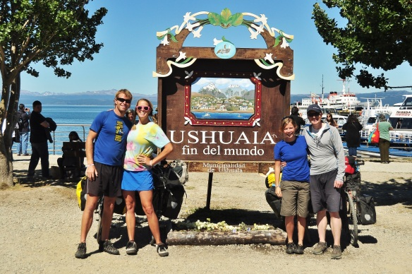 A really dorky photo of the four of us, but it had to be taken! Ushuaia: fin del mundo.