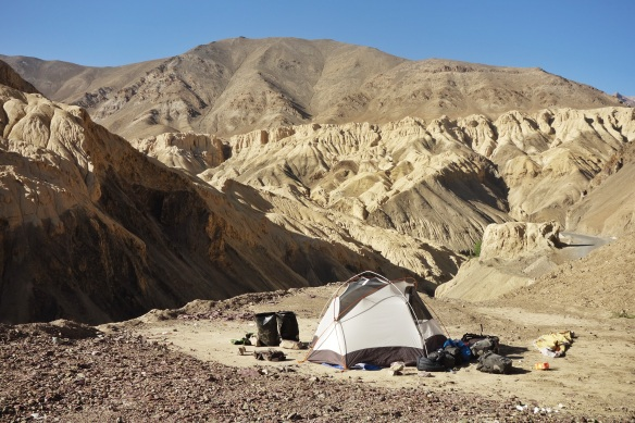 Camping in the barren high altitude desert of Ladakh. We were over 3,200m for over six weeks.
