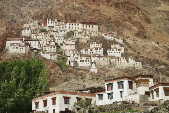 A typical village and monetary perched on the hill.
