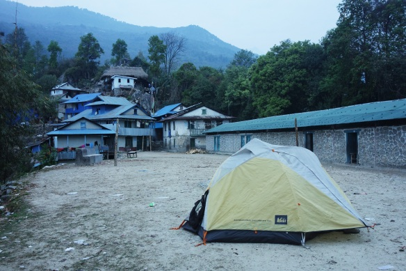 We also camped in front of a school in a very small village as there was no other flat ground around.