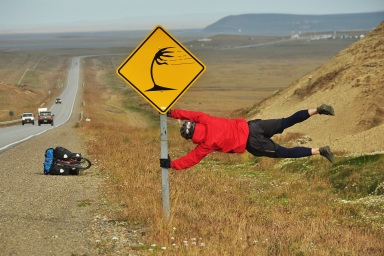 The headwinds down here weren't a joke even if this photo is, Patagonia 2015.