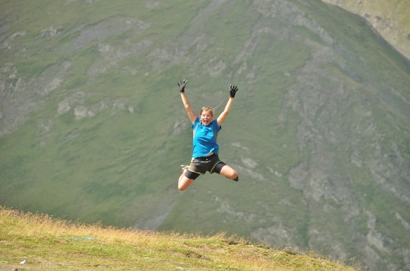 Jumping for joy at the top of a very difficult pass in Georgia.