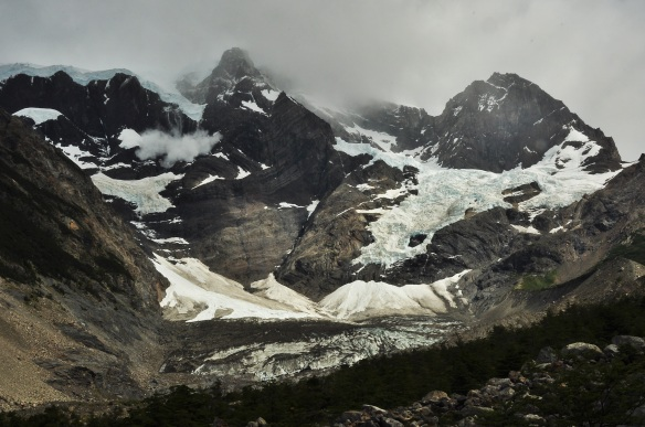 One of many glaciers which constantly shifts and falls, creating huge thunder type sounds multiple times a day.
