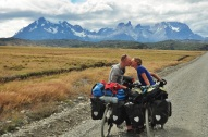 A bike packed full of food, some mountains, and a boy equals one happy girl! Torres del Paines, 2015.