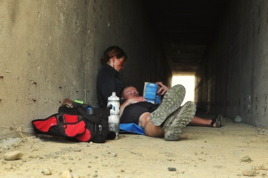 Reading in a tunnel when the wind got too strong. Patagonia, 2015.