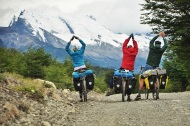 Yoga in the mountains with friends, Argentina Patagonia.