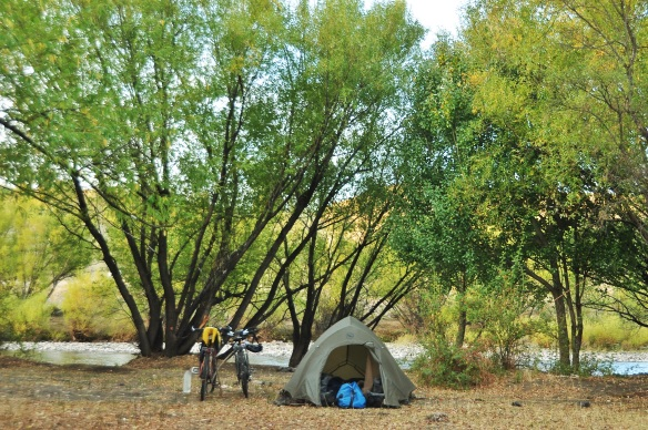 Our last beautiful camping spot on Argentina, right by a river full of fish.