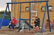 Eating breakfast on the playground.