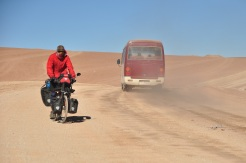 We got dust thrown on us during the first 100km as cars (tourist jeeps) past. Thankfully after that we were all alone!