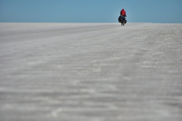 "Kevin on the ""road,"" marked by worn out patches of salt."