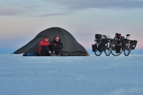 Us, our bikes, and our home! Salt flats, May 2015.