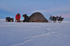 Typically when we stop cycling for the day I start cooking as Kevin sets up the tent.