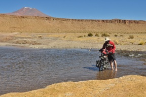 One of many river crossings, most of which were half frozen which left our feet very cold!