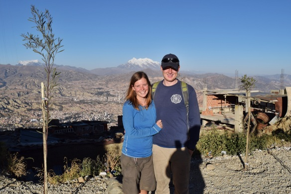 Posing in front of La Paz.