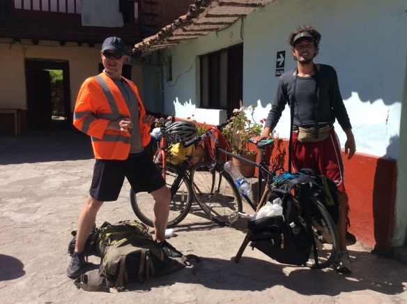 Kevin and our German friend getting ready for a cycle through the sacred valley.
