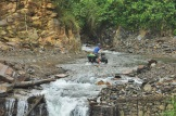 Cycling through a stream, great way to cool down!