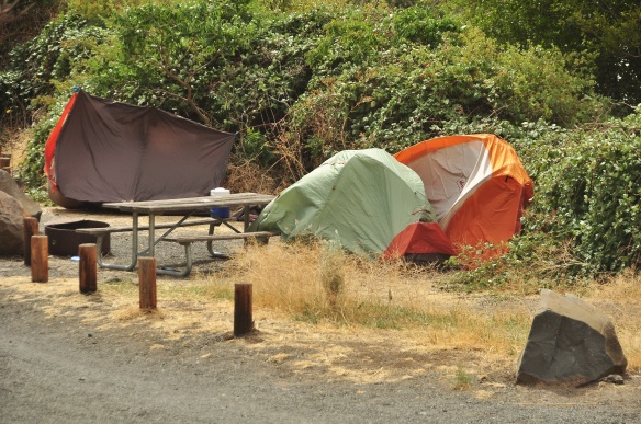 It was really windy on Saturday and we passed many flattened or sideways tents as we were cycling passed campgrounds.