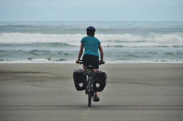 Riding to the ocean! Since it was low tide the beach had a large compacted section which made for nice riding.