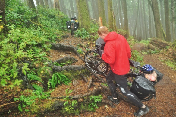 Kevin carrying his bike up a bunch of roots. These roots, which were absolutely all over the trail, is what made the going so slow.